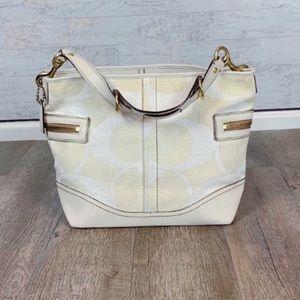 Coach cream fabric monogram hobo shoulder bag